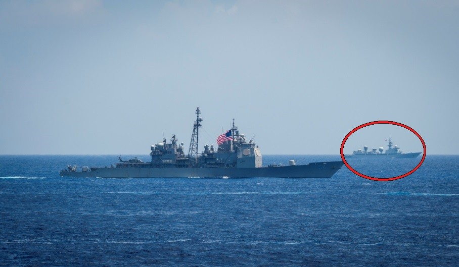 """Photo released by the US Navy reportedly showing the Chinese recon vessel """"855 Tianshuxing"""""""