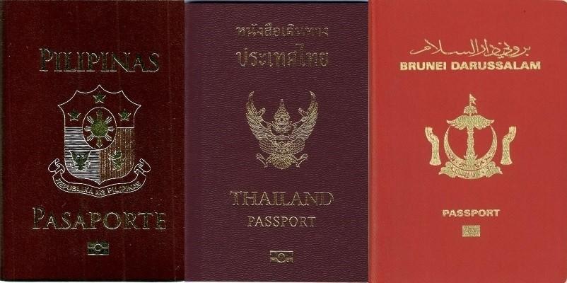 The Philippines, Thailand and Brunei passports.