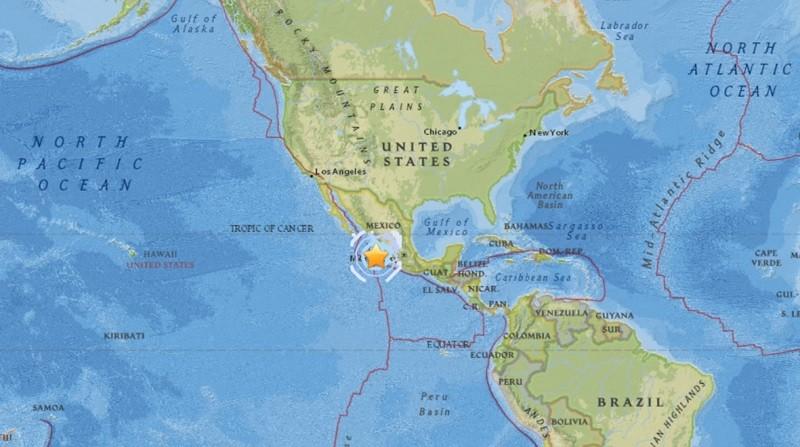 黃色星星處即墨西哥6月30日地震的震央位置。翻攝自earthquake.usgs.gov
