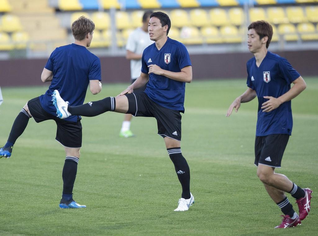 圖為日本足球隊受訓一景(圖片來源:美聯社)