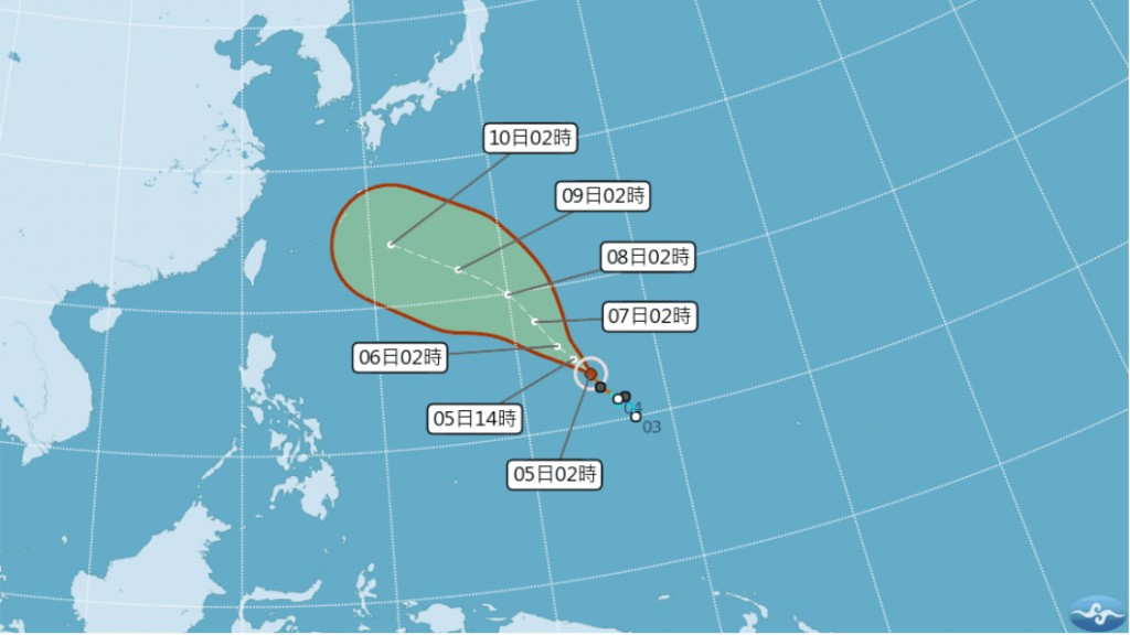 CWB map of Tropical Storm Maria's predicted path.