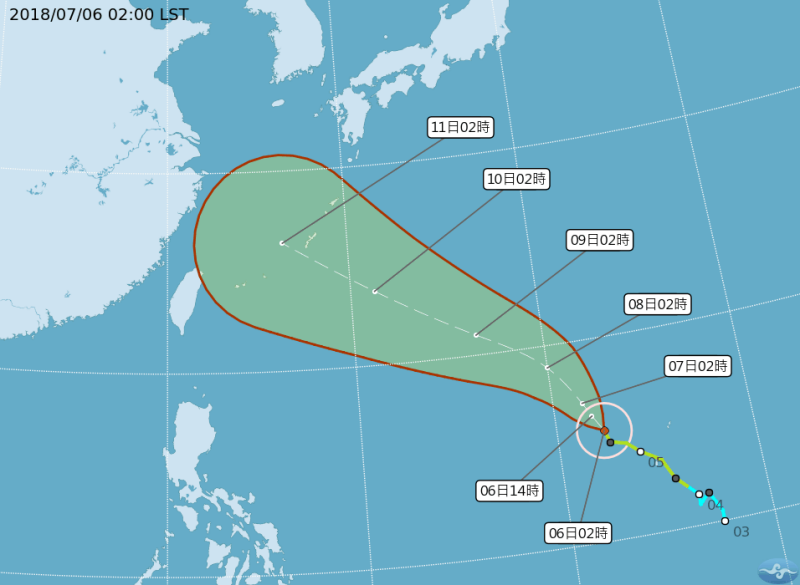 CWB map of Maria's projected path.