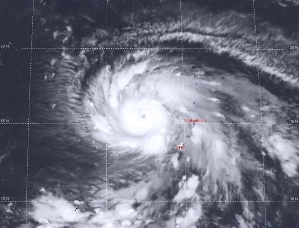 Satellite image of Typhoon Maria. (Image from JTWC)