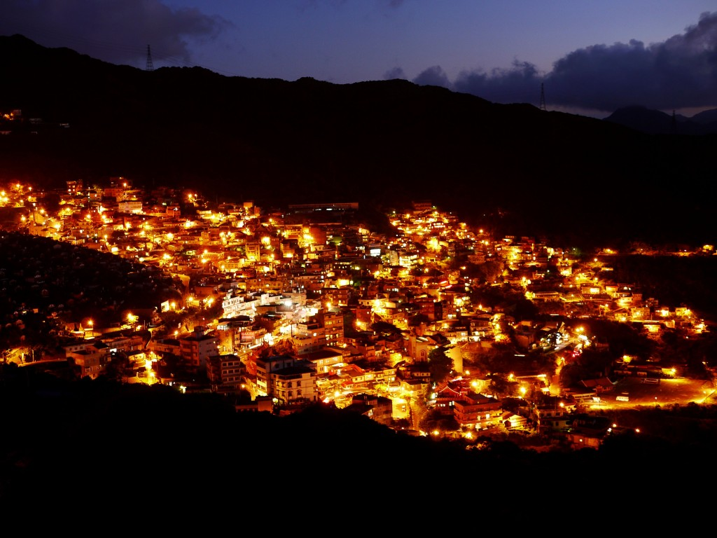 The photo shows night view of Jiufen