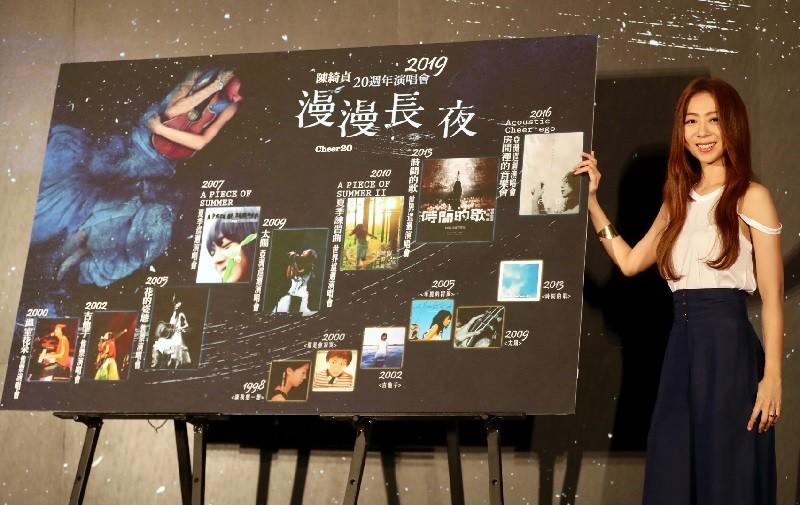 歌手陳綺貞20週年演唱會「漫漫長夜 cheer20」,將於 2019年1月在台北小巨蛋舉行。中央社