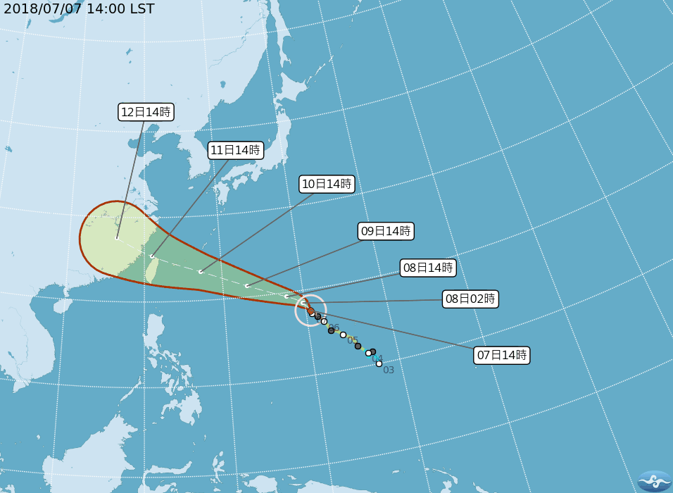 Super Typhoon Maria might make landfall in Northern Taiwan, according to some forecasts (image courtesy of Central Weather Bureau).