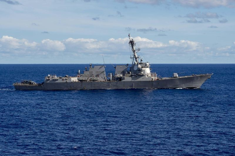 Two U.S. Navy ships passed through the Taiwan Strait Saturday.