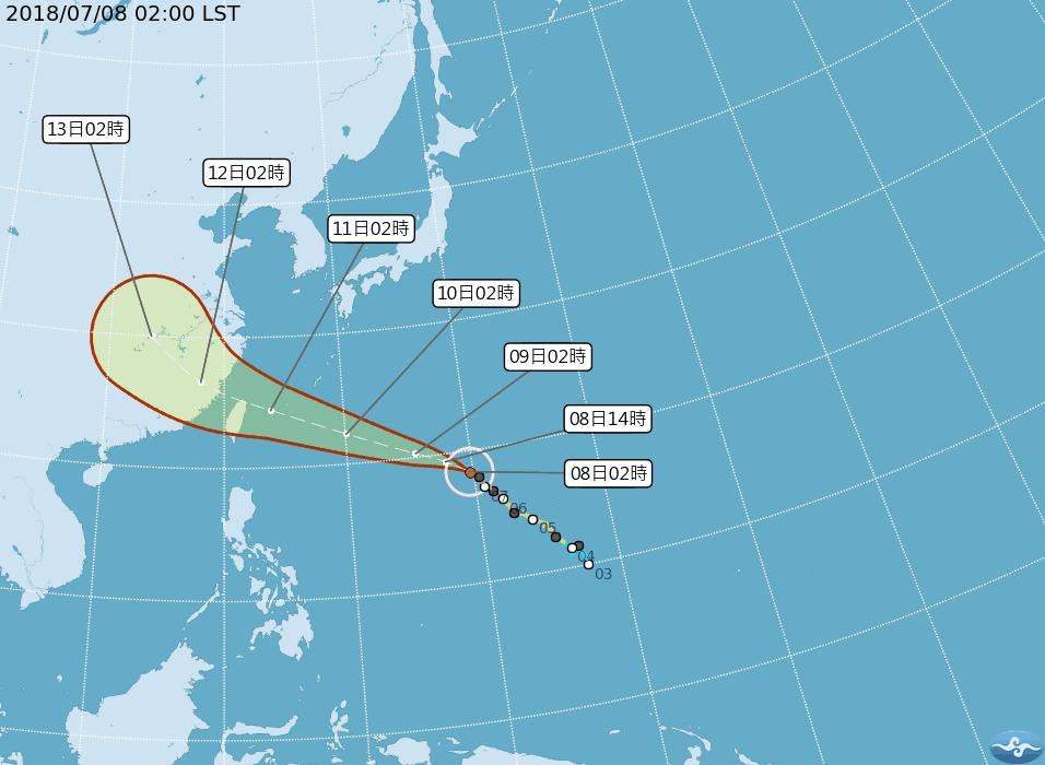 颱風瑪莉亞8日最新動態(圖片來源:中央氣象局提供)