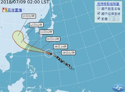 瑪莉亞颱風路徑潛勢圖 (圖片來源:中央氣象局官網)
