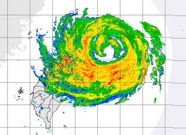 CWB satellite map of typhoon Maria over Taiwan.