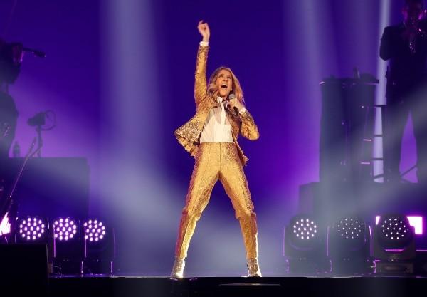Celine Dion sings in Taipei.