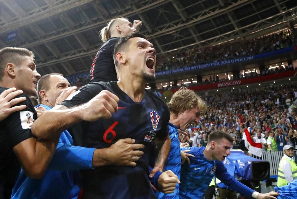 克羅埃西亞挺進世界盃總決賽,球員們歡欣鼓舞<圖片來源:美聯社>
