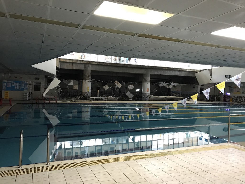 Part of a ceiling collapsed at the Nangang Sports Center pool, injuring one woman.
