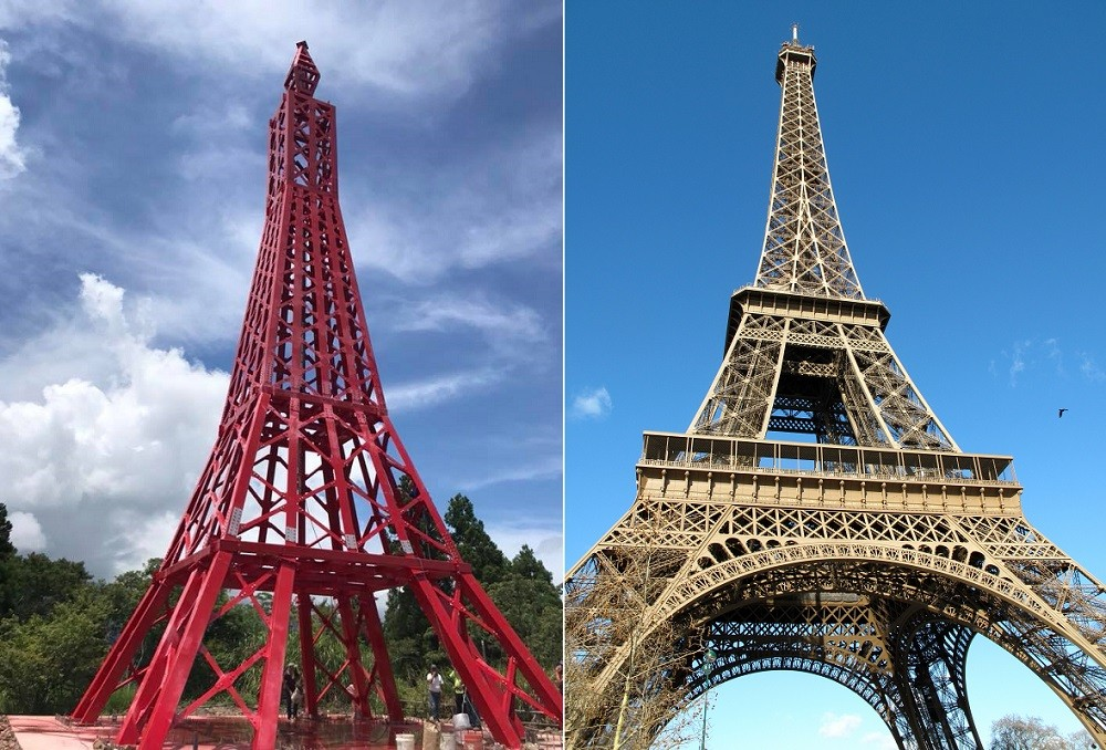The Baleng Tower and Eiffel Tower (Screen capture from Facebook/ Wikicommons)