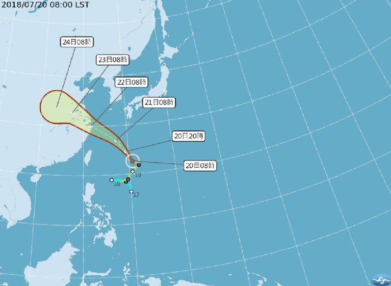Tropical Storm Ampil unlikely to hit Taiwan directly (image courtesy of Central Weather Bureau).