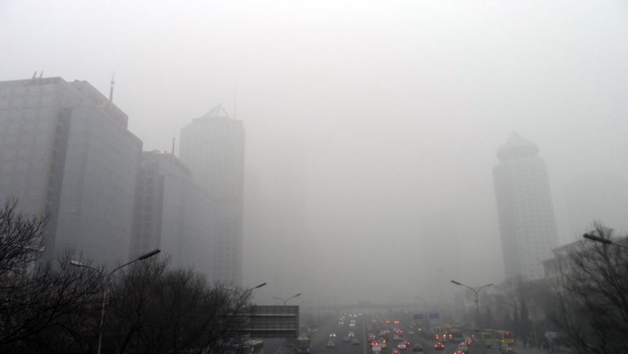 霧霾籠罩下的北京CBD