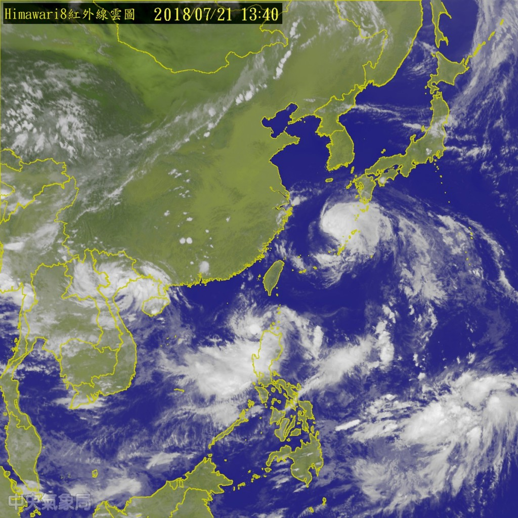 Tropical Storm Ampil northeast of Taiwan, while a tropical depression to the southwest could turn into Tropical Storm Wukong (image courtesy of Centra