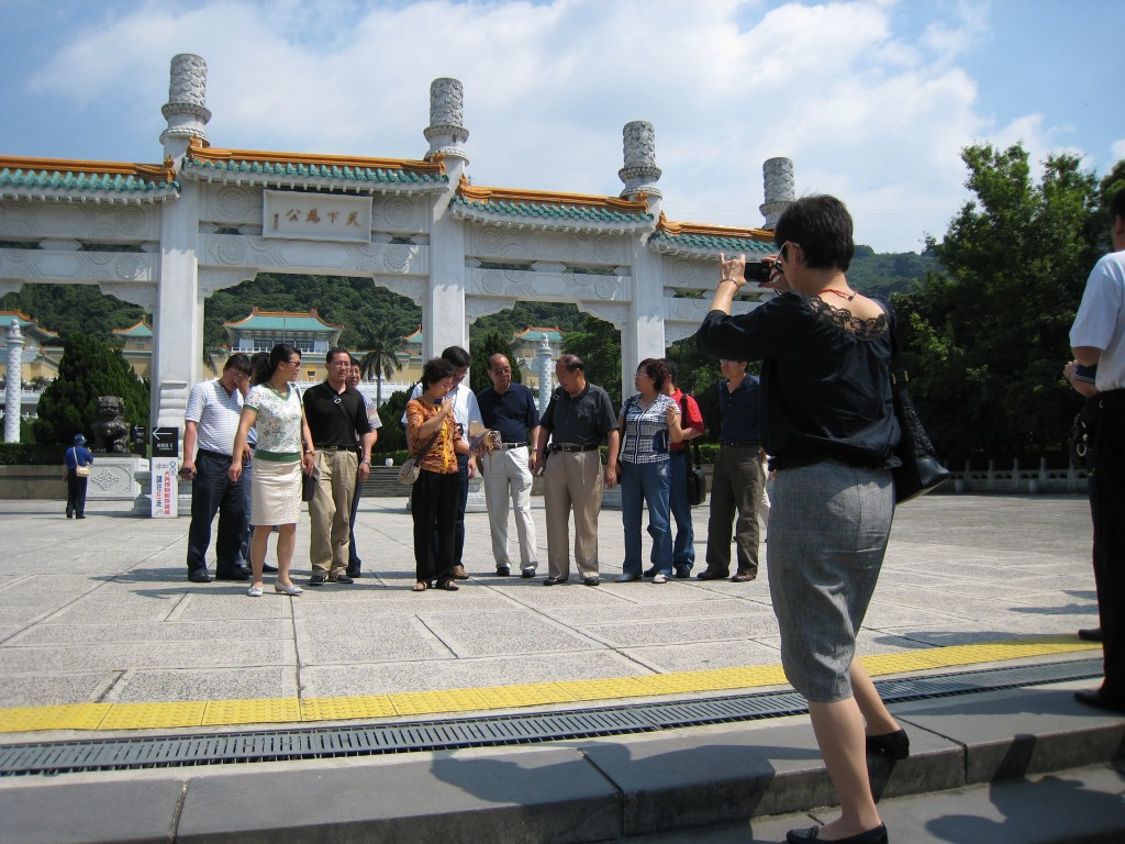 Chinese tourists visit the National Palace Museum.