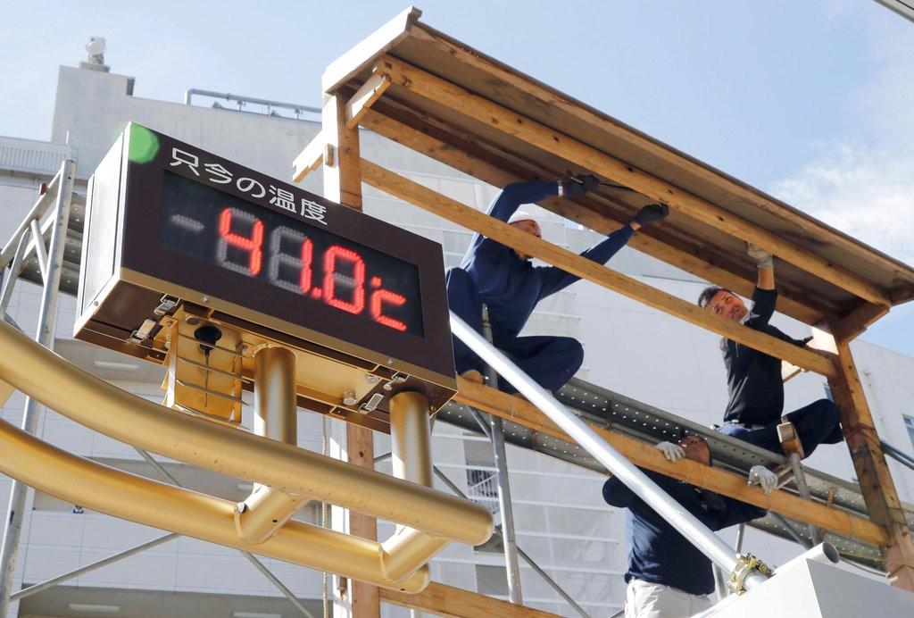埼玉縣熊谷市溫度計表示只今(當前)氣溫為41.0度(美聯社提供)