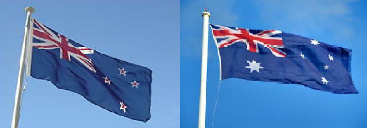 紐西蘭國旗(圖左)澳大利亞國旗(圖右)<圖片來源:維基百科,台灣英文新聞合成>
