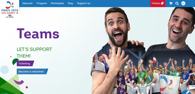 (Screenshot image of the Paris Gay Games website)