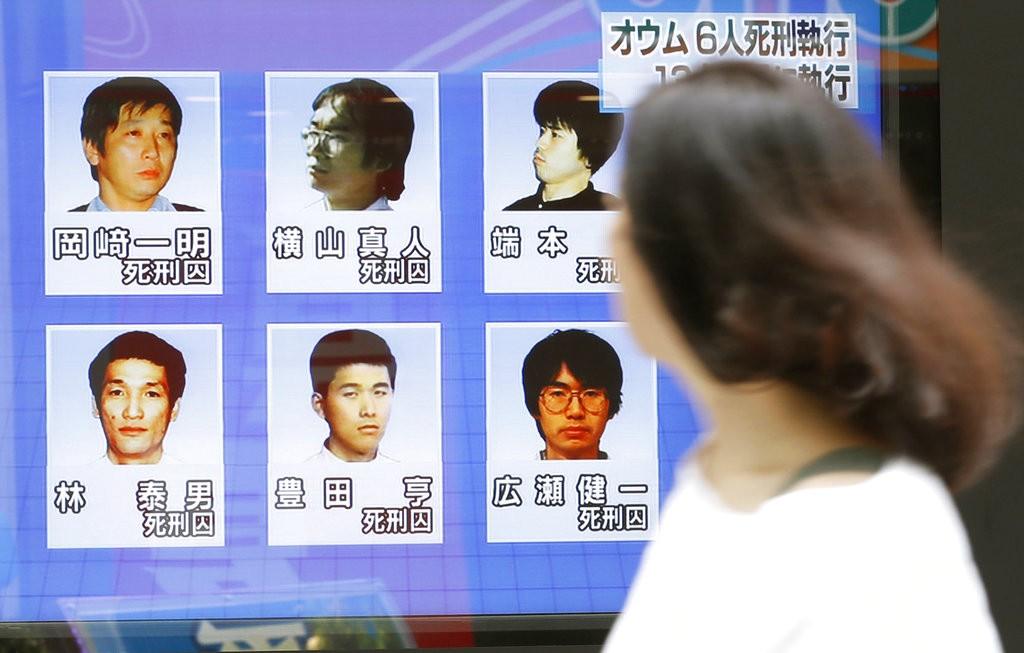 日本電視報導今(2018年7月26日)早開鍘6位奧姆真理教死囚新聞(美聯社)