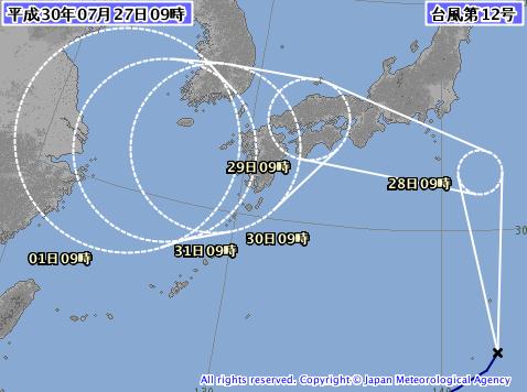 日本氣象廳在台灣時間平成30(2018)年7月27日上午8點公佈的第12號颱風「雲雀」預測圖(翻攝自日本氣象廳網站)