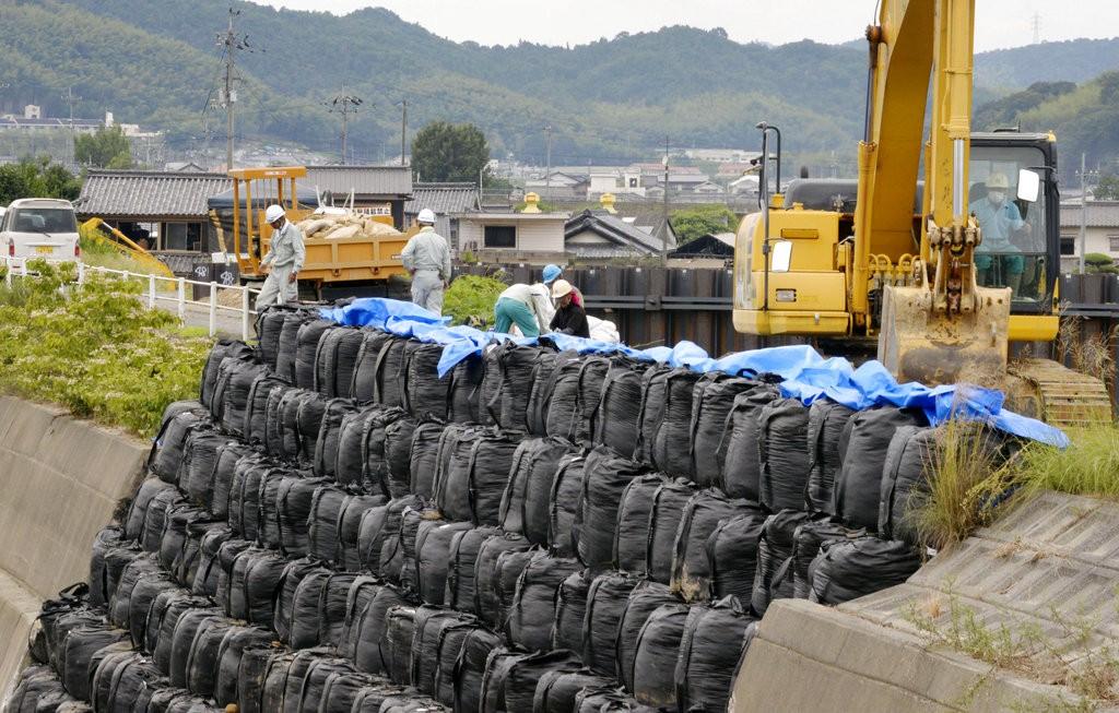 日本岡山縣倉敷市為颱風做準備資料照(美聯社)