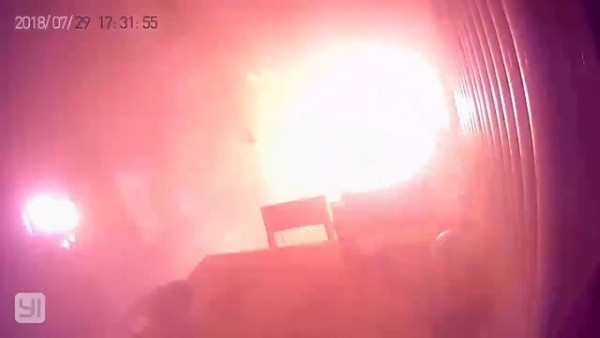 Still from video posted on Weibo showing scooter exploding.