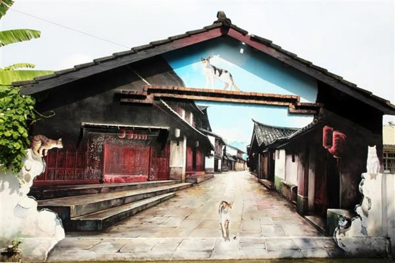Cat-themed mural paintings in Chiayi (Photo/Culture & Tourism Bureau of Chiayi County)