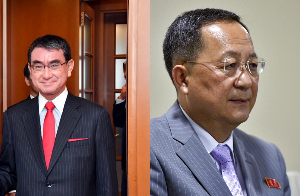 (左)日本外務大臣河野太郎(翻攝自其推特)及北韓外長李容浩(美聯社)(《台灣英文新聞》後製)