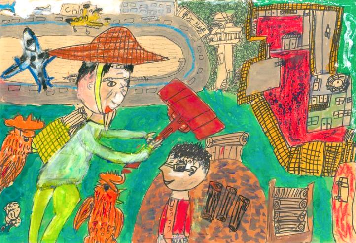 回答新二代繪畫作品的問題即可參與抽獎(照片來源:新住民培力發展資訊網)