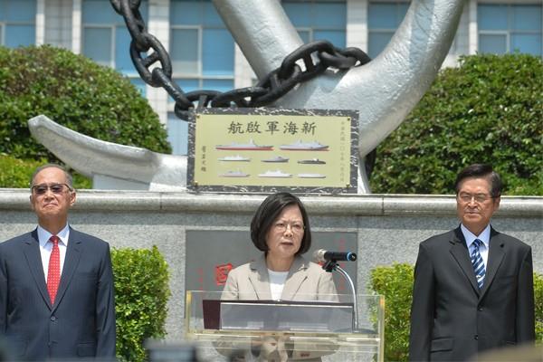 Tsai at Navy Command Headquarters, Taipei, August 6.