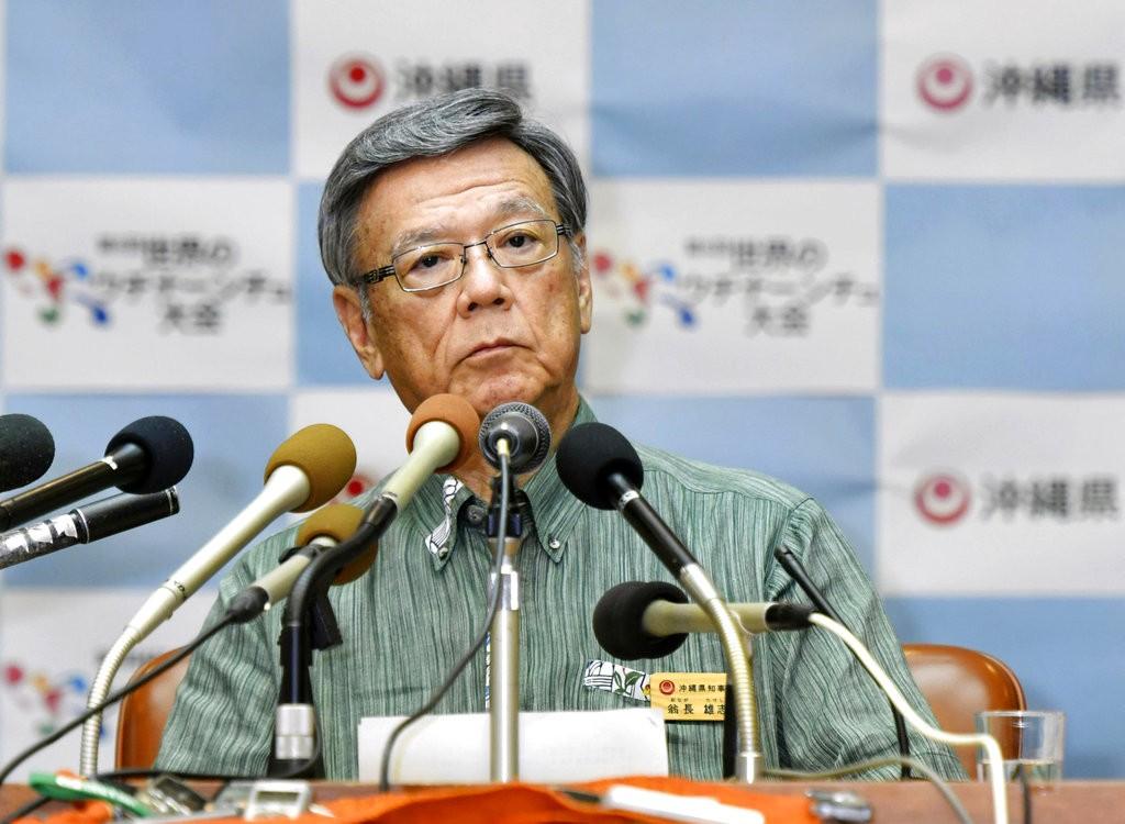 沖繩縣知事翁長雄志資料照(共同社。美聯社提供)