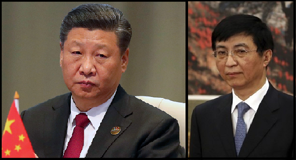 CCP chairman Xi Jinping (left) and chief strategist Wang Huning (right)