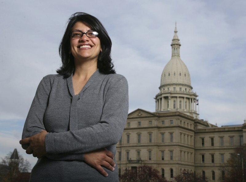 In this file photo, Rashida Tlaib, a Democrat, is photographed outside the Michigan Capitol in Lansing (AP)
