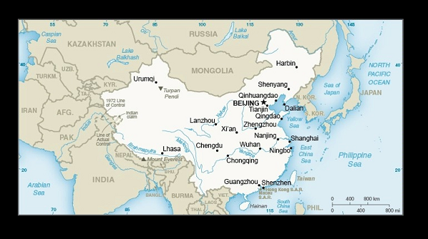 Map of China from the State Dept. website