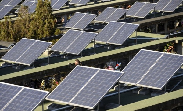 Solar panels on cemetery in Spain.