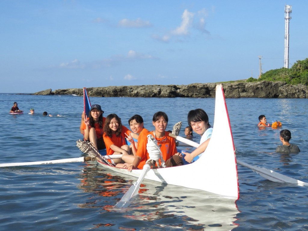 Camp participants in canoe.