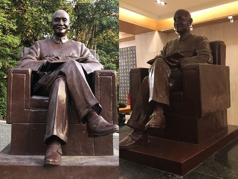 The Chiang Kai-shek statue before the move, inside the library (right), and after the move.