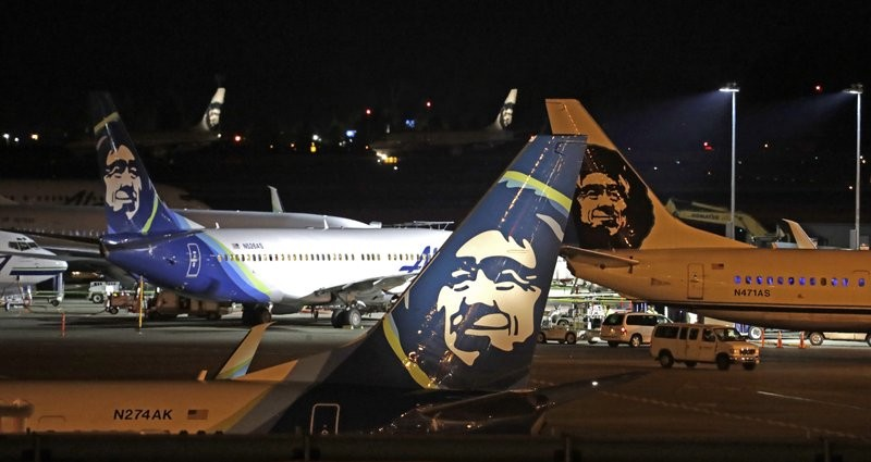 Alaska Airlines planes at Sea-Tac International Airport in Seattle.
