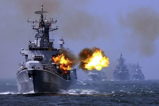 China's Navy performing drills.