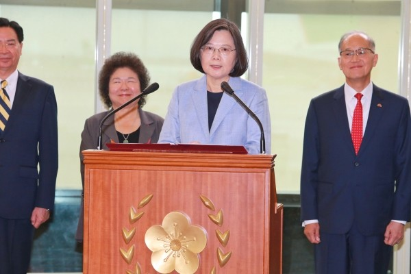 Tsai Ing-wen delivering speech.