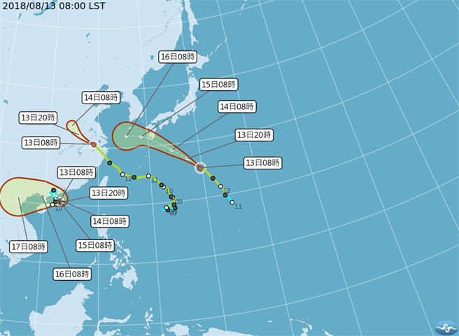 CWB map of three tropical storms near Taiwan.