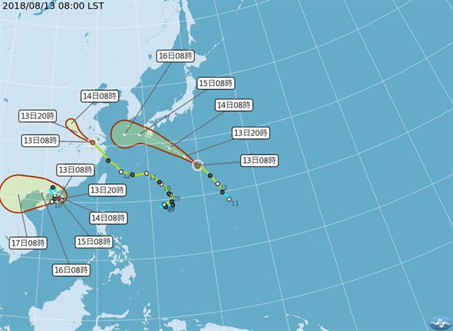 CWB map of three tropical storms near Taiwan.