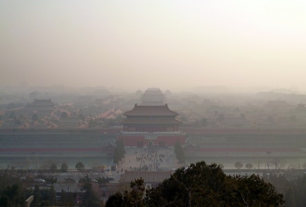 Smog over Beijing's Forbidden City. (Photo by flickr user bafac)