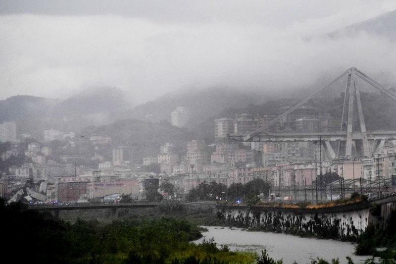 The Morandi Bridge in the Italian city of Genoa after part of it collapsed Tuesday.