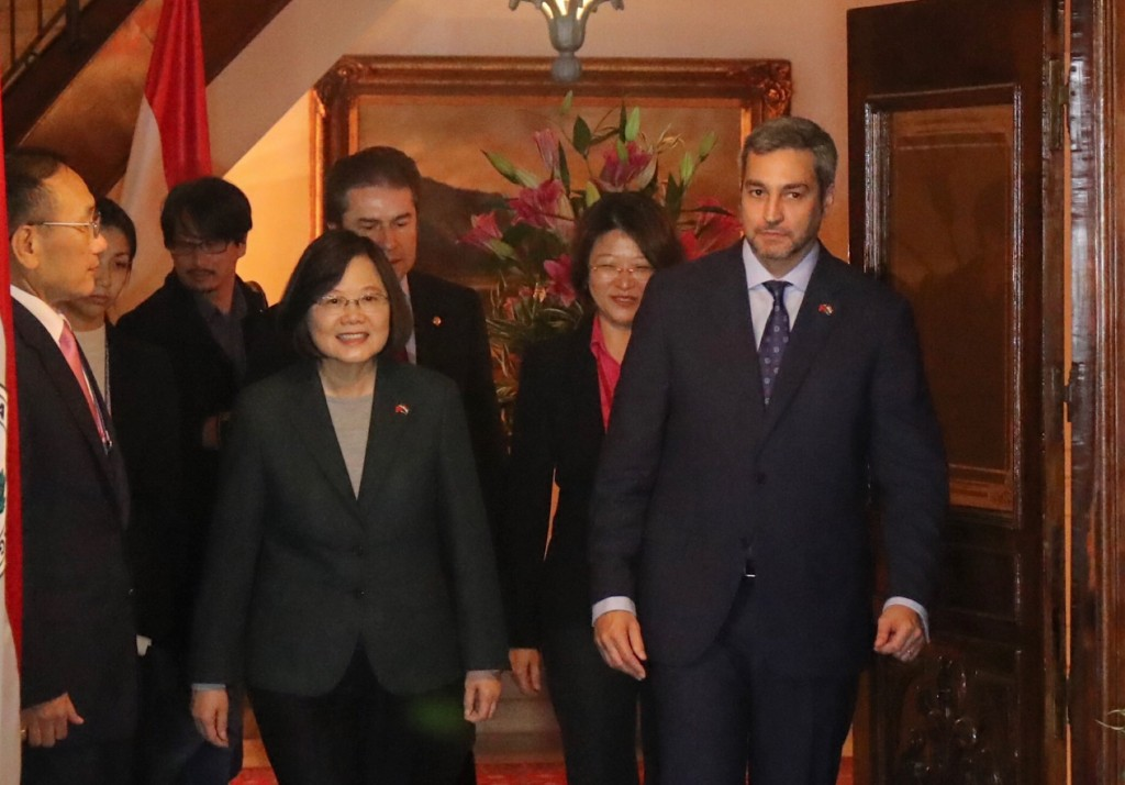 Taiwan President Tsai Ing-wen and Paraguay's President-elect Mario Abdo Benitez have a meeting in Abdo's residence in Asuncion on August 14