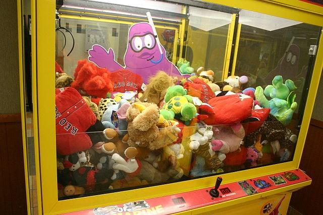 An arcade claw machine