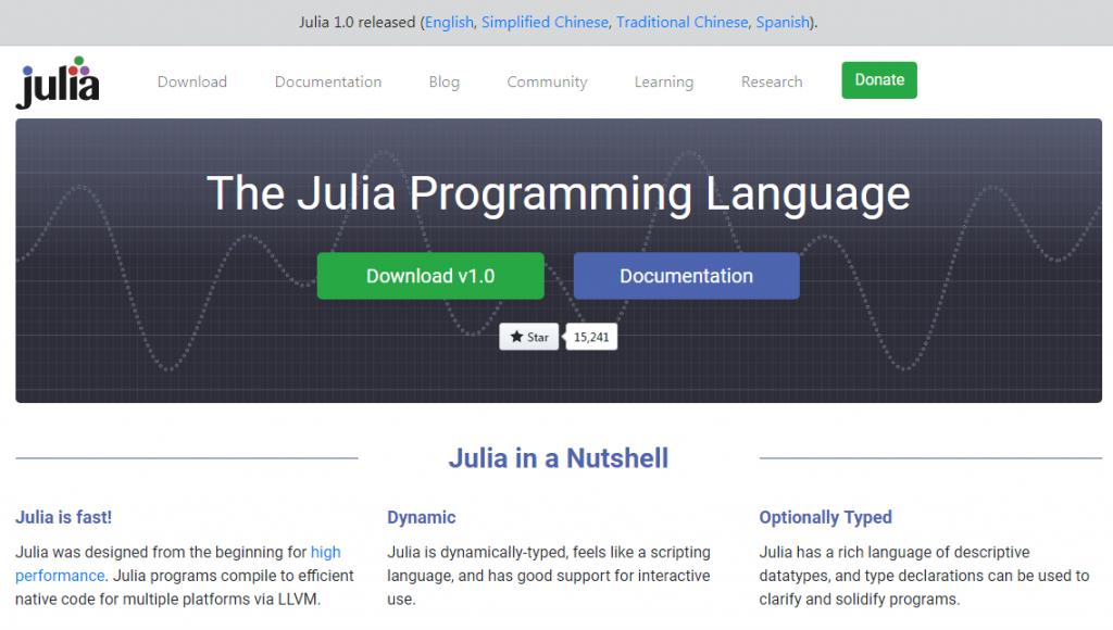 大數據程式語言Julia(翻攝自Julia首頁)